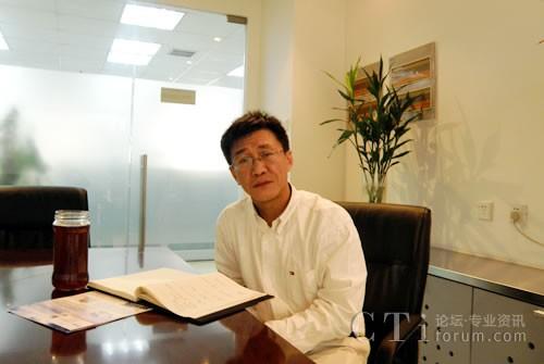 捷通华声董事长张连毅先生在办公室接受CTI论坛记者采访